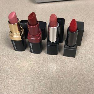 Set of 4 mini lipsticks Burberry, MUF, Bobbi Brown